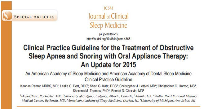 Clinical Practice Guideline for the Treatment of Obstructive Sleep Apnea and Snoring with Oral Appliance Therapy: An Update for 2015